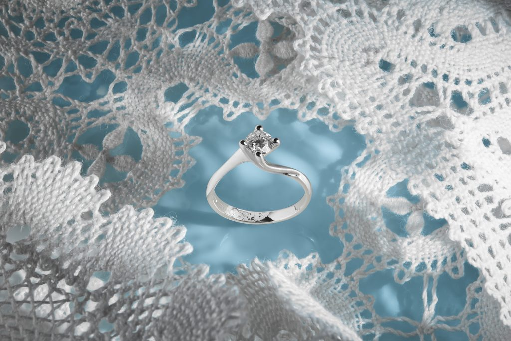 Creative jewelry photography of diamond ring