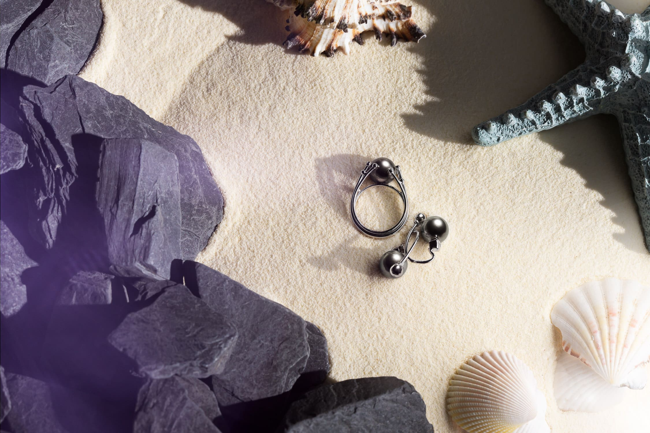 Black Pearl Ring and Earrings