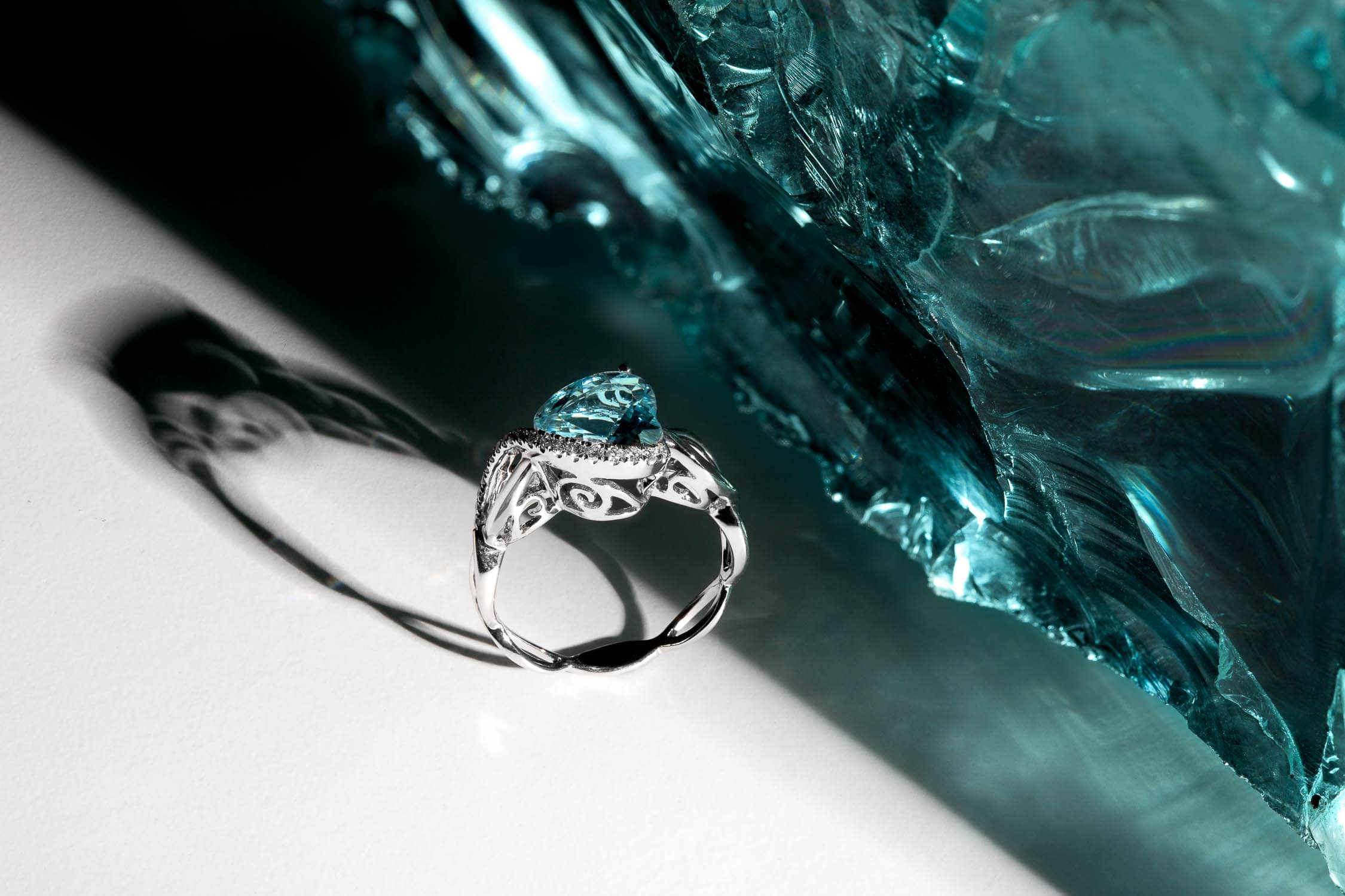 Jewelry photography of aquamarine ring