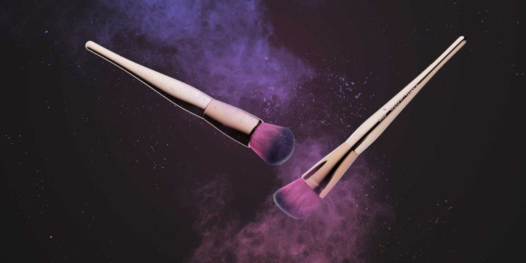 Creative product photography of makeup brushes